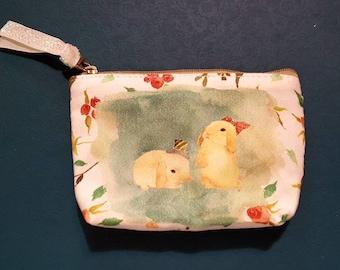 Bunnies coin purse, coin purse, make up bag, small bag, fabric, canvas, small purse