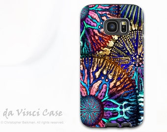 Colorful Coral Abstract Case for Samsung Galaxy S7 - Dual Layer Galaxy S 7 Case with Art - Cosmic Star Coral - by Da Vinci Case