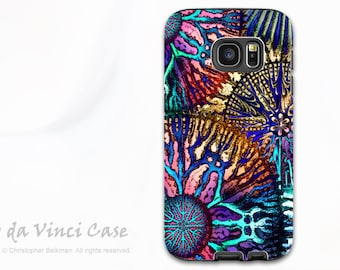 Colorful Coral Case for Samsung Galaxy S7 EDGE - Abstract dual layer Galaxy S 7 EDGE Case with Artwork - Cosmic Star Coral by Da Vinci Case