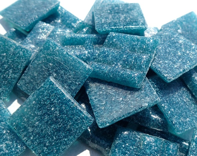 """Dark Teal Glass Mosaic Tiles Squares - 3/4"""" - Half Pound of Deep Ocean Vitreous Glass Tiles for Craft Projects and Decorations"""