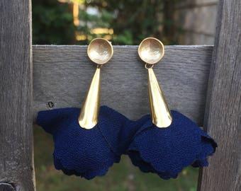 Navy Petal Earrings