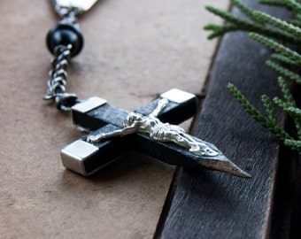 Vampire Hunter Wooden Cross Stake Necklace / cross necklaces for men / occult gothic edgy jewelry / Men's Vampire Necklace / Cross Necklace