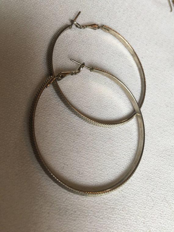 Huge 2+ inch Vintage Textured Silvertone Hoop Earrings