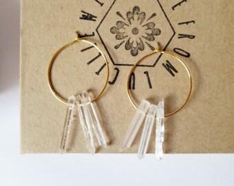 Raw Crystal Earrings | Raw Quartz Hoop Earrings | Healing crystals | Raw Stone Earrings | Clear quartz hoops