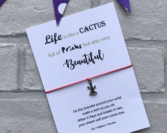 Cactus Wish Bracelet - Cactus String Bracelet - Cactus Charm Bracelet - Life is like a Cactus Quote - Rude Love Card - Rude Gift