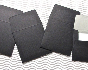 12 teeny tiny envelope note card sets handmade miniature square black grey duotone stationery party favors weddings guest book