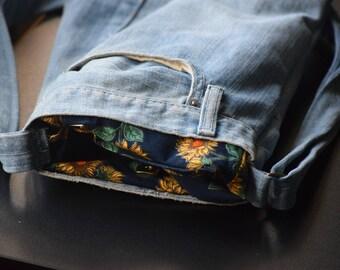 Upcycled Denim Pocketbook w/ adjustable strap