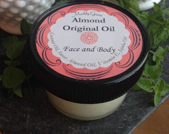 Almond Original Oil for face and body by Maddy Grace.  Anti-Aging whipped oil lotion.