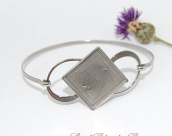 Stainless Steel Bangle Bracelet Blanks with square tray 20x20 mm
