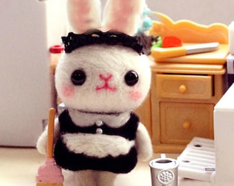 Rabbit Maid Needle Felting Kits for Beginners with Photo Tutorial