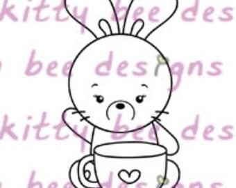 Coffee Bun Digital Stamp