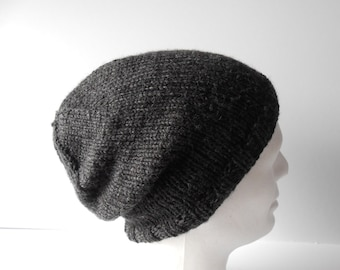Men's knit Hat. Men's slouchy Beanie hat. Hand knit men's slouch hat. Charcoal Grey knit hat. Guy's slouchy beanie hat. Irish knit Hat