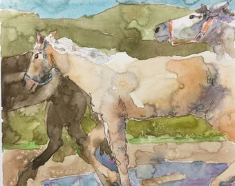 "Palomino 8"" x 8"" Original Watercolor Painting"