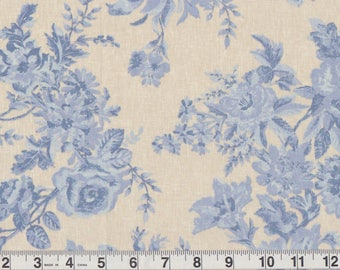 "Blue Rose Floral Bunch Bedsheet FQ | on linen look repurposed cream king duvet top quilt fabric | Fat Quarter 18"" x 22"" pre-cut"