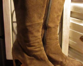 Vintage Newport News Olive Green Suede Knee High Platform High Heel Boots Sz 6B *free shipping*