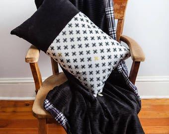 Decorative Pillow, Black White, Bolster Pillow, Black White Pillow, Corduroy Pillow, Black White Bolster, Man Cave Decor, Gift for Him