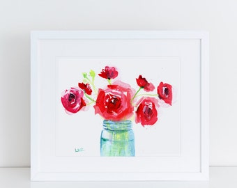 Watercolor Painting, Floral, Bouquet, Fine Art Print, Mason Jar, Modern Art, Ink, Minimalist, Garden Floral, Abstract Art, Bohemian