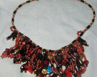 Black and Red Fringed Necklace