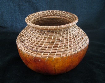 Forest Vase -  Pine Needle Coiling Gourd Art