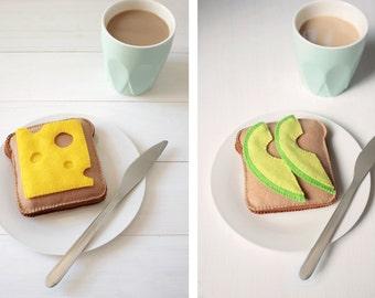 Avocado or Cheese on Toast Bread Felt Play Food, Plush Toy, Pretend Food, Pretend Play, Tea Party, Picnic, Breakfast Food,
