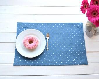 Cafe placemats, restaurant placemats, wedding placemats, handmade, lin, Blue polka dots linen placemats, Dinning placemats, modern placemats