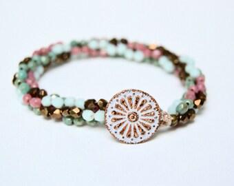 Hand Knotted Czech Glass Bead Bracelet. Boho.Button Boho . Glass . Wedding Gift .Bracelet. Boho .