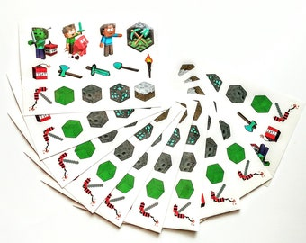 """10 Sheets 4x6"""" Minecraft Temporary Tattoos ~ Birthday Party Supplies Favors"""