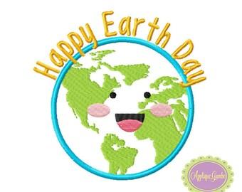 Happy Earth Day Machine Embroidery Applique Design