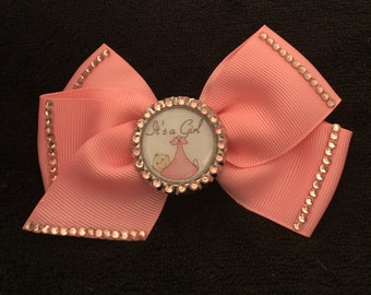 Adorable Pink It's A Girl Hair Bow