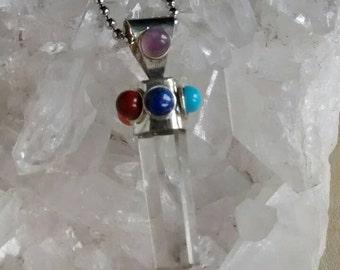 Crystal Chakra point, Crystal Point,  Chakra Pendant, Crystal necklace, Quartz Crystal,  Chakra Necklace,