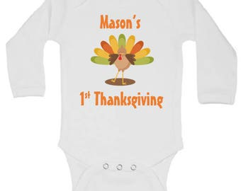 CUSTOMIZABLE BabyThanksgiving Onesie, Turkey Onesie, Fall Onesie, Boy First Thanksgiving Onesie, Girl First Thanksgiving Onesie