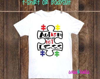 Autism Awareness Autism Boy Girl Mom Dad Sister Brother Grandma Grandpa Aunt Uncle Personalized one piece shirt tshirt Different Not Less