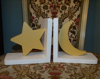 Star and moon bookend set, painted bookends, children's room decor, wooden bookends, nursery decor