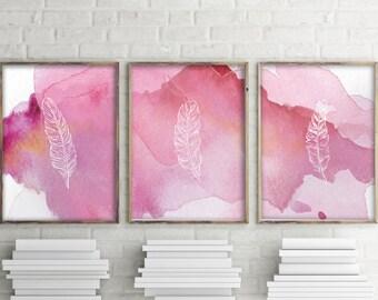 Pink nursery wall art decor, Set of 3 prints, Baby girl nursery, Pink feathers print, Printable art, Feather wall art Watercolor print BD950