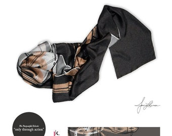 "Silk Twill Scarf: ""Only through Action"""
