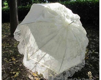 Wedding Parasol Lace Bridal Umbrella with Multi Layers of Gorgeous Lace  in Ivory 1pc