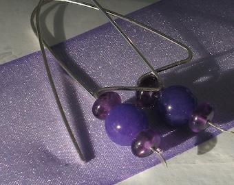 Drop Earrings. METRO. purple amethyst and jade. 20 gauge solid sterling silver earrings