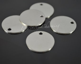 """5 pcs - 3/4"""" Round Stamping Blanks - Stainless Steel Round Disc - Brushed Finish w/Hole"""