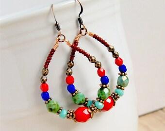 colorful earrings, beaded hoops, boho jewelry, gypsy earrings, gift for her, bohemian jewelry