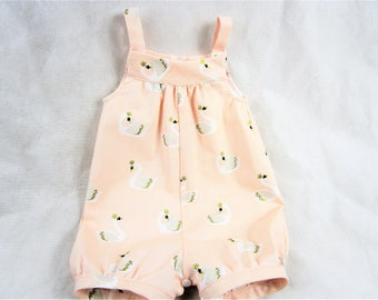 Baby Romper - Baby Girl Outfit - Blush Pink Baby Romper - Baby Romper Swans - Baby Girl Romper - Spring Romper - Baby Girl Sunsuit - Romper
