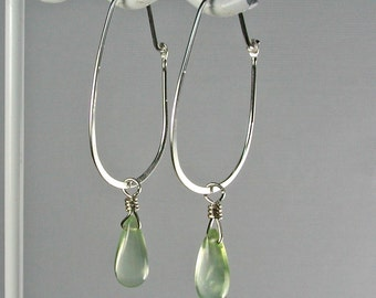 Light Green Phrenite Silver Hoop Earrings