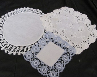 "Doily Lot of 3 Assorted Handmade Vintage Crocheted Linen Doilies 7"" to 12"" -  #23A"