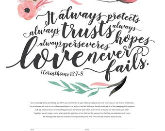Printable Ketubah Love Never Fails Marriage Certificate