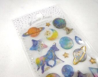 Kawaii Japan Sticker Sheet Assort Epoxy Glitter Drop Lunar Tears: CONSTELLATION PLANET Zodiac Sign Star Moon Saturn Ringed Deep Blue Cat Z