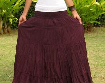 Plus Size * Extra Long Maxi Skirt * Long Skirts For Women * Pleated Skirt * Crinkle Skirt * Boho Skirt * Hippie Skirt * purple * XS – XXL