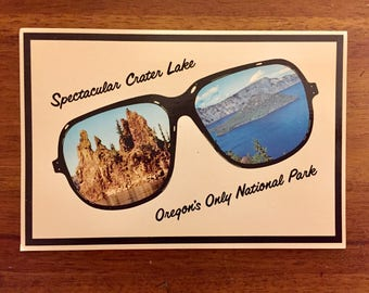 Unused Crater Lake Postcard / Vintage / Oregon National Park / Sunglasses / Camping / Vacation / Fun / Travel / Mail / Family/ Souvenir