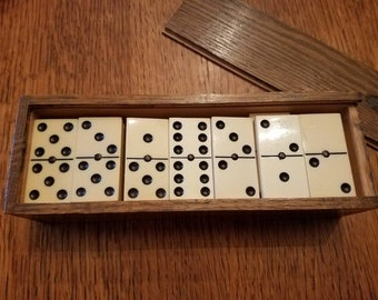 Vintage White Dominoes in a Dovetail Wooden Box