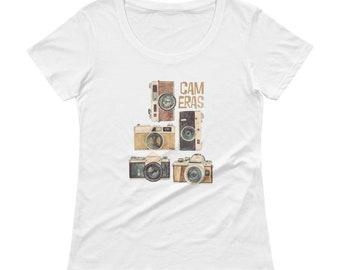 Retro Cameras Ladies' Scoopneck T-Shirt