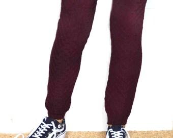 Ballet dance leg warmers/Long  Leg warmers in burgundy/ Urban clothing / Knit leg wear / Woman leg warmers