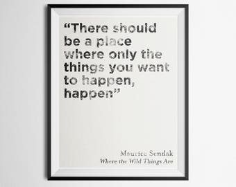 Minimalist Literary Quote Poster Where the Wild Things Are Maurice Sendak Print